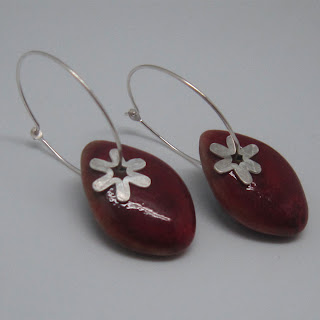 red, sterling silver, hoop, earring, porcelain, glazed, star