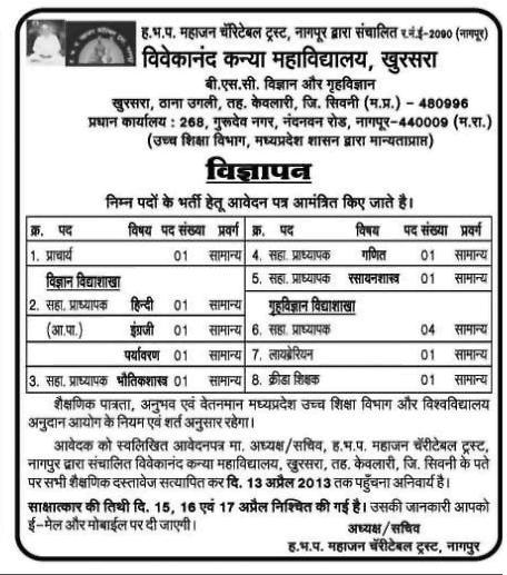 Vivekanand Girls Collage Khursara SEONI  (MP) Job Vacancy 2013