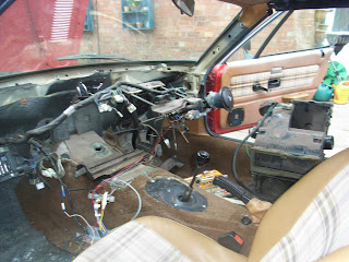 TR7 dashboard area showing interior with heater out