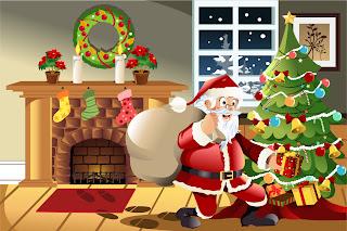 クリスマスプレゼントを届けるサンタクロース Santa Claus gifts christmas scene illustration イラスト素材