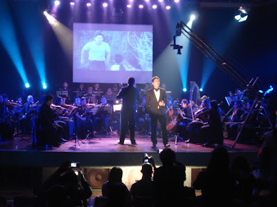 Piolo Pascual with the ABS-CBN Philharmonic orchestra singing the theme song of  ABS-CBN's newest drama-fantaserye, Little Champ