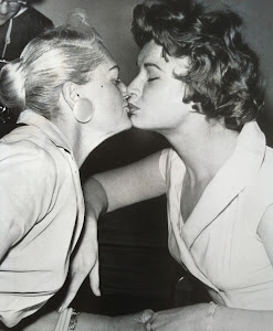 Kissing stepmother at Pomona Court, 1959