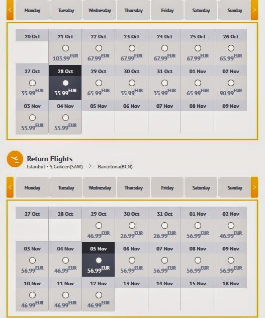 Calendario vuelos directos Barcelona Estambul