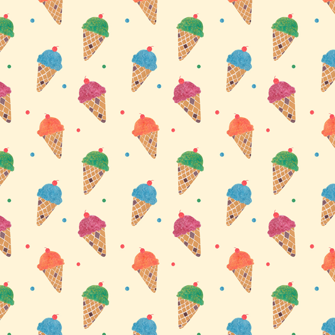 Fun Ice Cream Pattern Watercolor Illustration by Haidi Shabrina