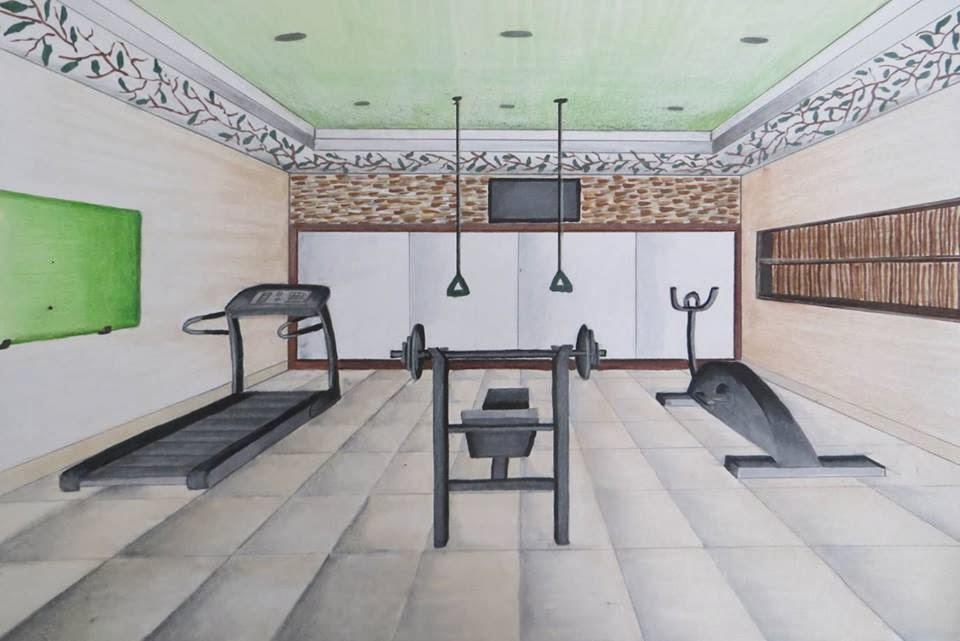 Dibujo perspectiva y color gimnasio dayana corrales for Gimnasio 6 y 45