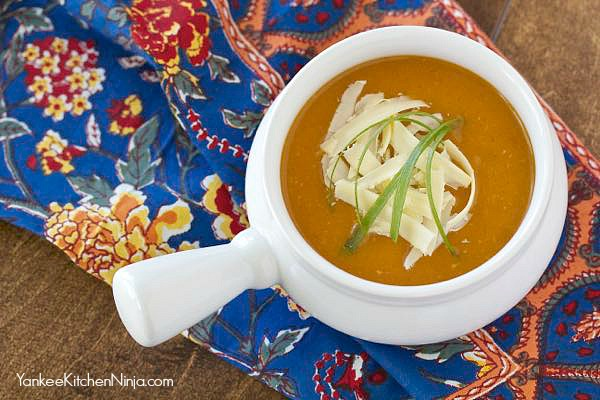 Easy and healthy slow cooker sweet potato and cheddar soup