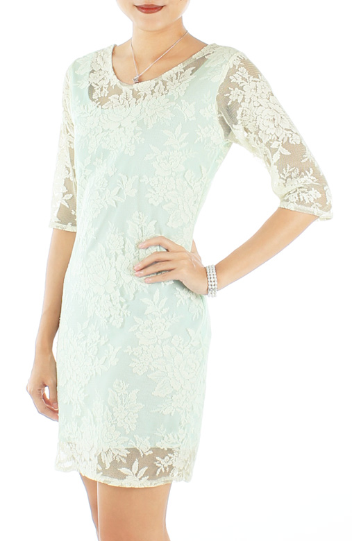 Mint Regal Lace Overlay Dress with 1/2 Sleeves