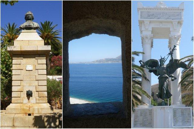 Monument Marchal, vistas de la costa desde la ciudadela, Monument aux Morts en Calvi, Corcega