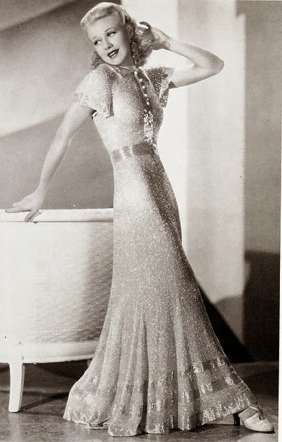 1930s wedding dresses, 'Daisy', c Heavenly Vintage Wedding Blog - b&w pic of Ginger Rogers