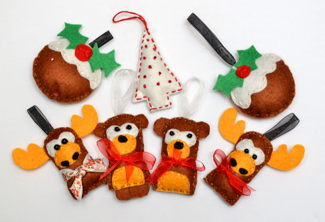 Filcowe bombki felt christmas decoration