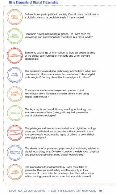 The 9 Elements Of Digital Citizenship - Lessons - Tes Teach