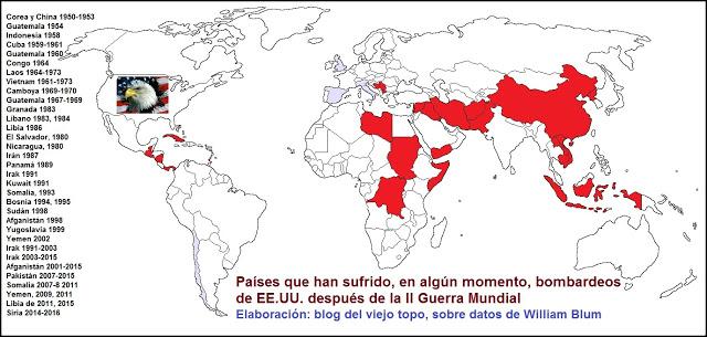 Lista de países bombardeados por Estados Unidos (por William Blum).