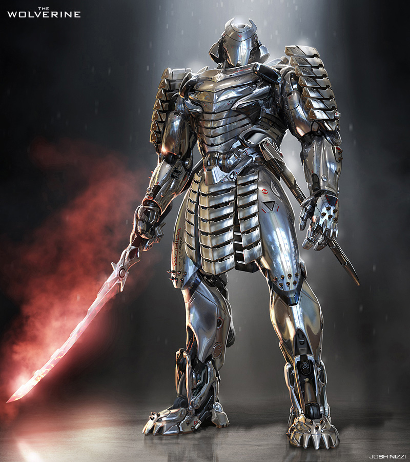 Fashion and action shiny silver samurai concept art by for Concept metal