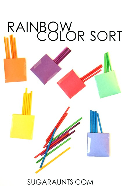 Color sort busy bag activity using rainbow dyed lollipop sticks. This is such a fun idea!