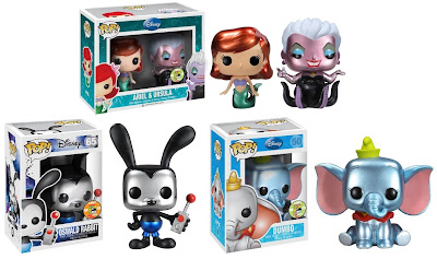 "San Diego Comic-Con 2013 Exclusive Metallic Disney Pop! Vinyl Figures by Funko - Mini Ariel & Ursula 2 Pack, ""Epic Mickey"" Oswald Rabbit & Dumbo"