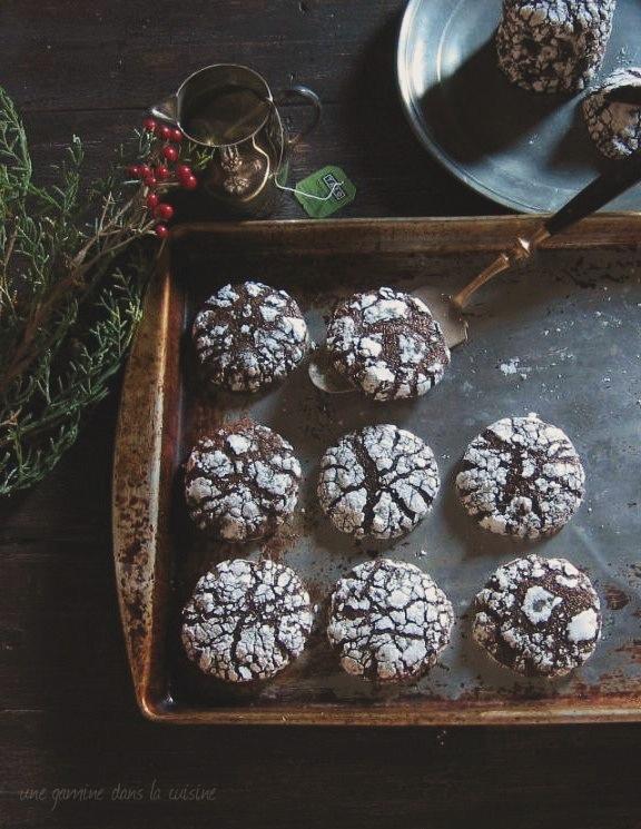 dark chocolate ginger molasses crack cookies