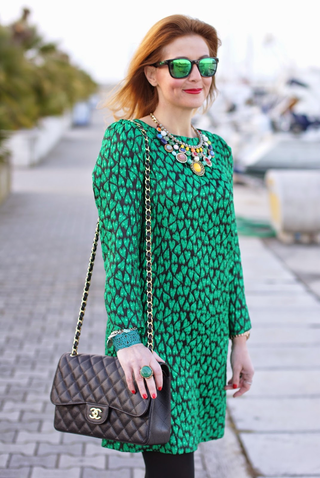 Mauro Grifoni green shift dress, Chanel 2.55 classic flap bag, Dolce & Gabbana Coco ankle boots, Fashion and Cookies fashion blog, fashion blogger italiana