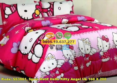 Sprei Motif Hello Kitty Angel Uk 160 X 200