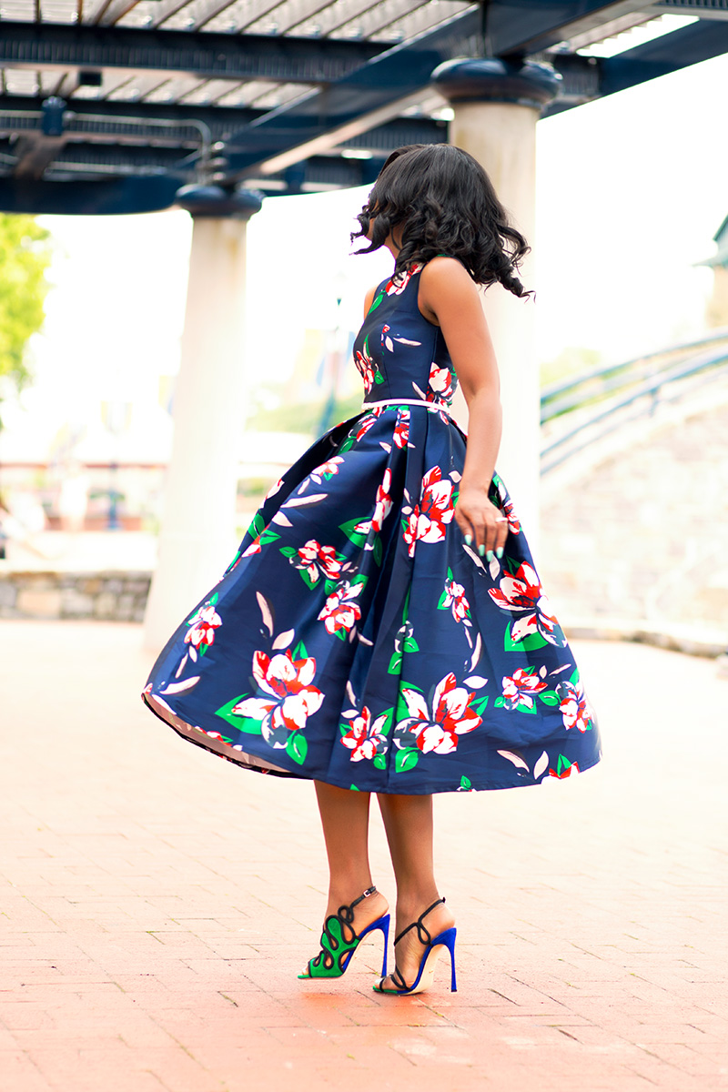 Floral dress and Sergio Rossi Lagoon sandals