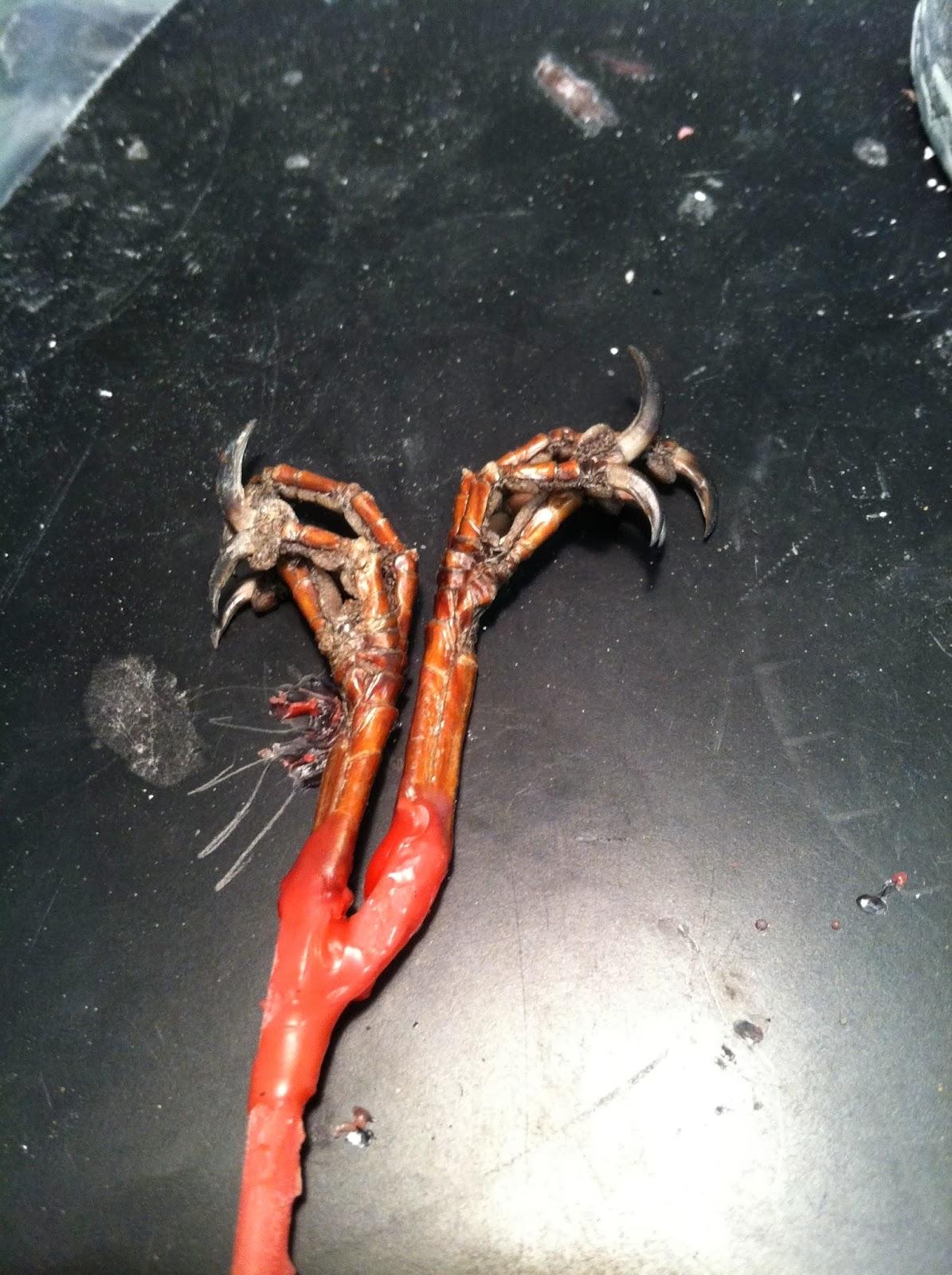 bird feet art casting cast sprue wax reuse
