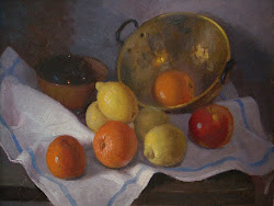 Caldero con naranjas y limones-(Óleo del pintor jiennense  Rufino Martos)