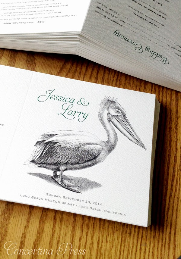 White Pelican Wedding Programs for a wedding at the Long Beach Museum of Art