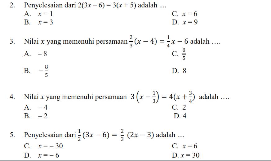 Latihan Persamaan Dan Pertidaksamaan Linear Satu Variabel Matematika