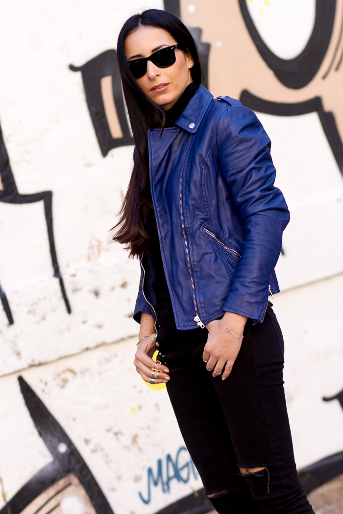 fashion blogger blue muubaa leather biker jacket carmona