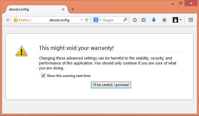 Step1 - Open the Firefox advanced configuration window