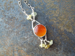 Carnelian grossular garnet necklace sterling silver