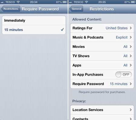Turn off  In-app purchases on iPhone, iPad and iPod Touch