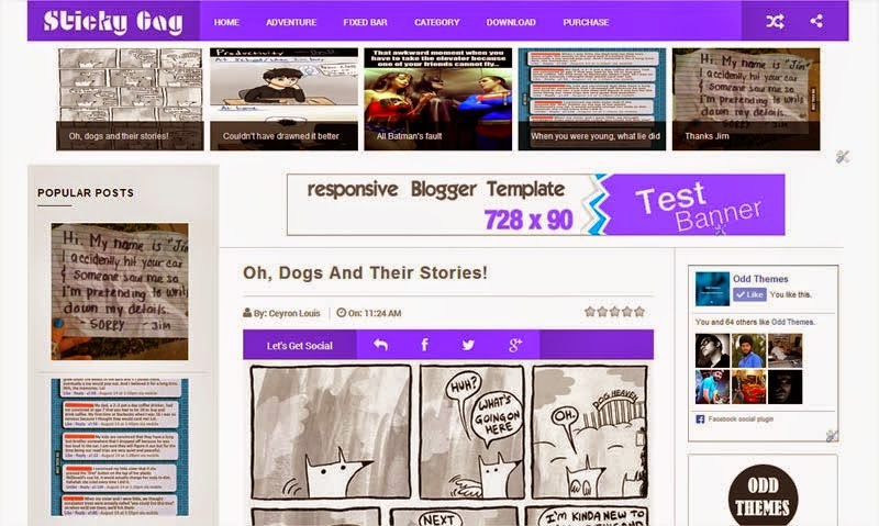 StickyGag Blue Blogger Template