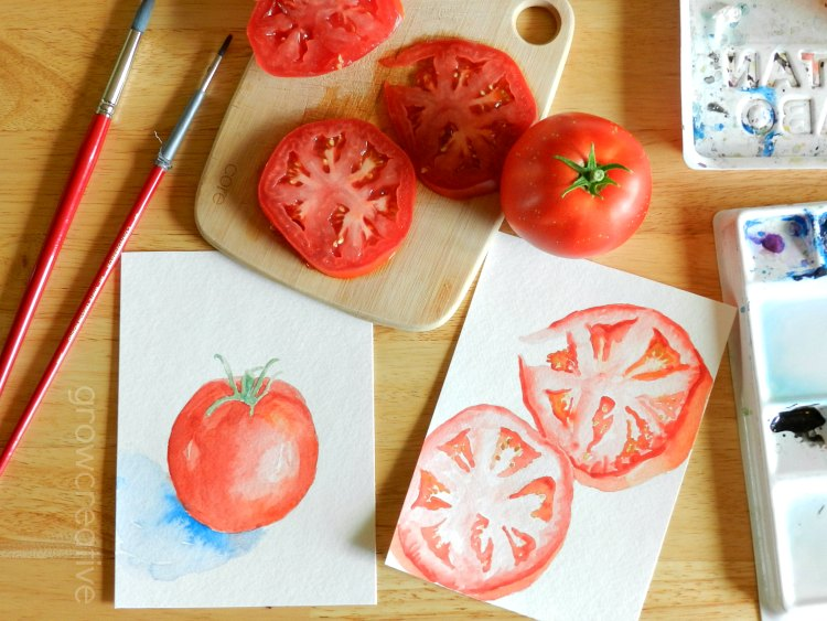 Original Watercolor Red Garden Tomatoes Paintings