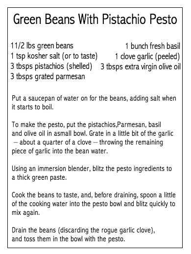 Marie's Moments: Green Beans With Pistachio Pesto