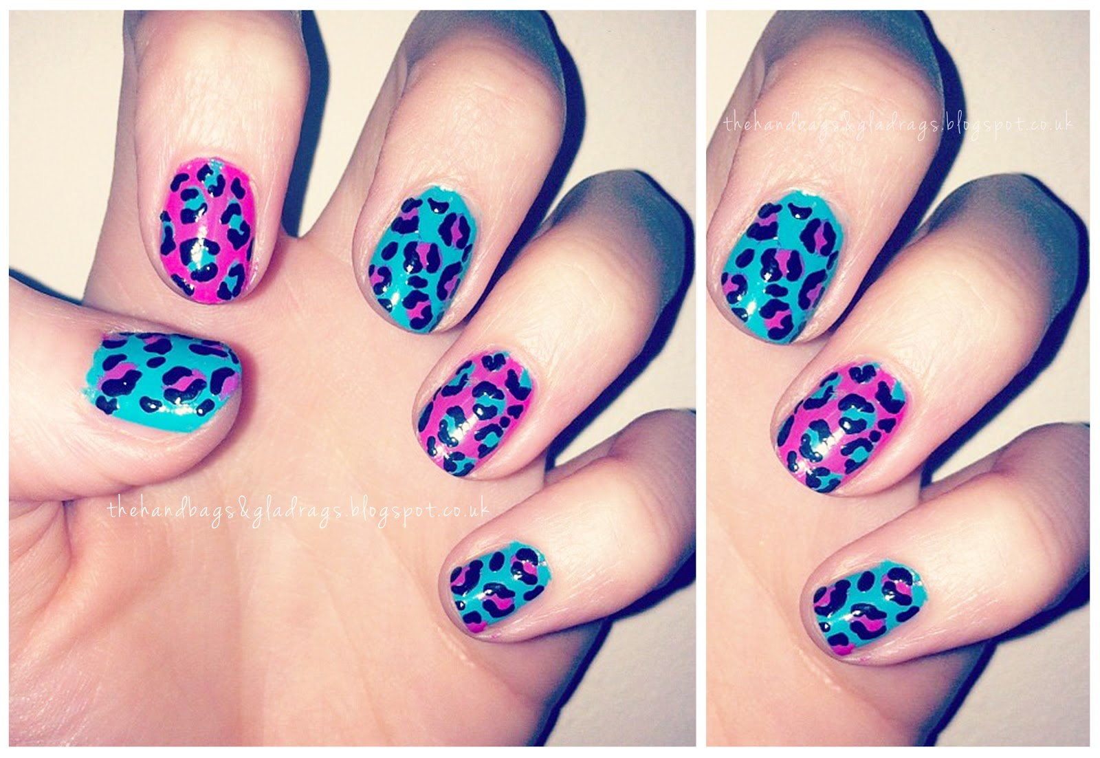 Pink Blue Leopard Print Nails