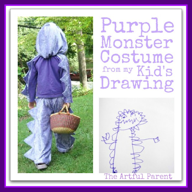 photo of: Purple Monster Costume from Child's Drawing from The Artful Parent (Monster RoundUP via RainbowsWithinReach)