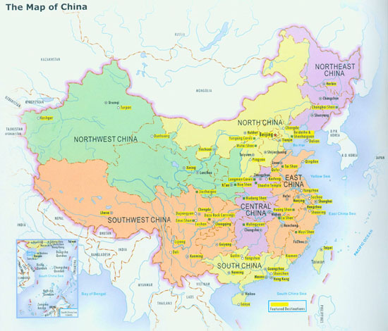 China map with cities