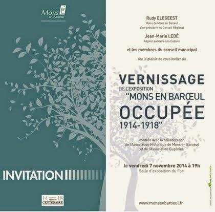 Exposition centenaire guerre 14/18 à Mons