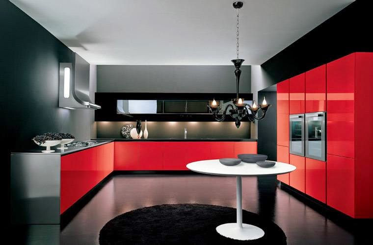 Luxury Italian kitchen designs, ideas 2015, sets, red and black kitchens