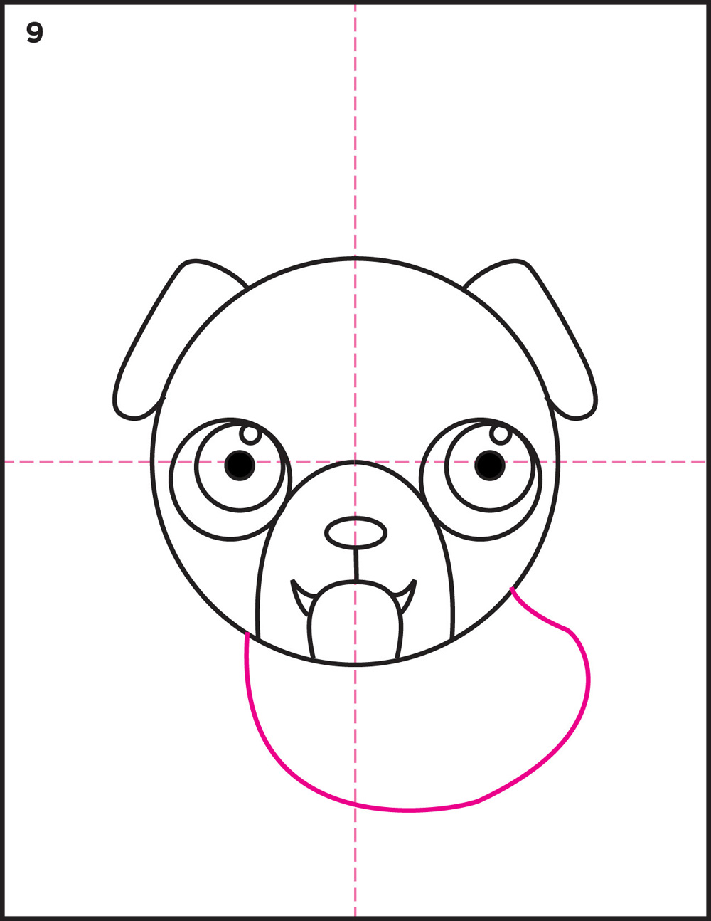 how to draw a pug head