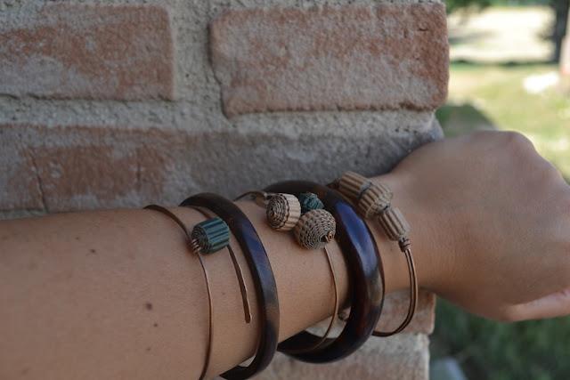 bracciale in rame e cartone ondulato by La Civetta Chiacchierina