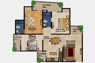 34 Pavilion :: Floor Plans,Amber :- 3 BHK2 Bedrooms, 2 Toilets, Kitchen, Dining, Drawing, 2 Balconies Super Area - 1295 SqFt