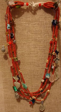 Short Necklace - Red Coral & different stones -PP- Nec 3