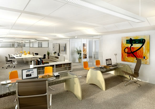 Modern office design back 2 home for Modern office interior design pictures