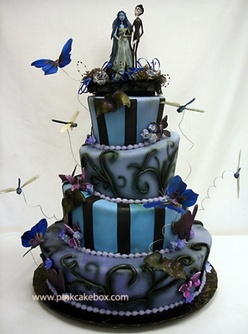 Princess Castle white and blue Wedding Cake Halloween zombie blue and black