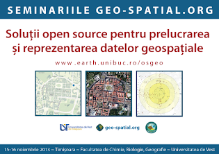 """Seminar """"Soluții open source pentru prelucrarea și reprezentarea datelor geospațiale"""", Timișoara"""
