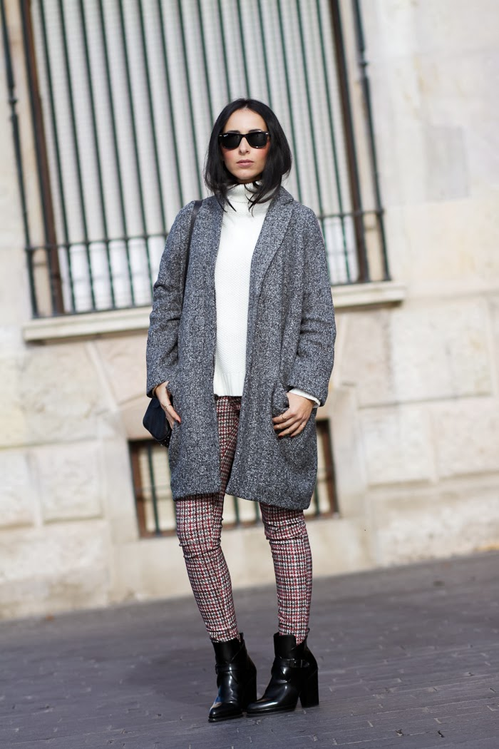 Houndstooth Pants and Oversized Coat