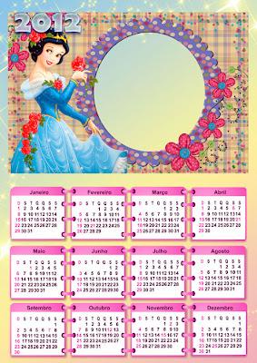 Calendario 2012 com moldura para foto - Branca de Neve