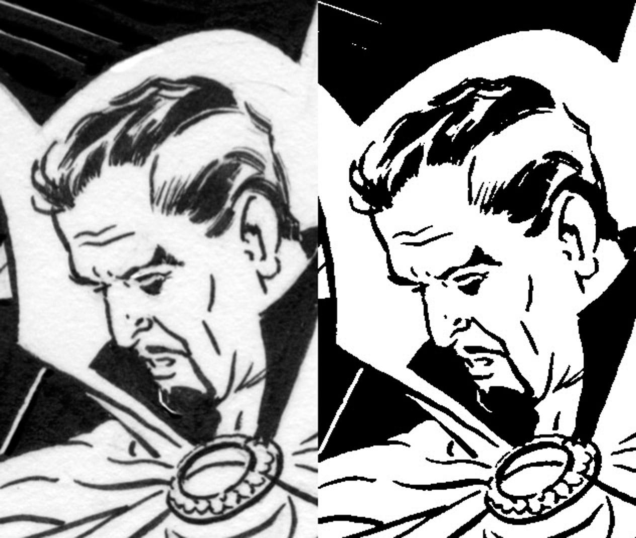 raw scan vs bitmap tiff 200 zoom - Comic Book Coloring