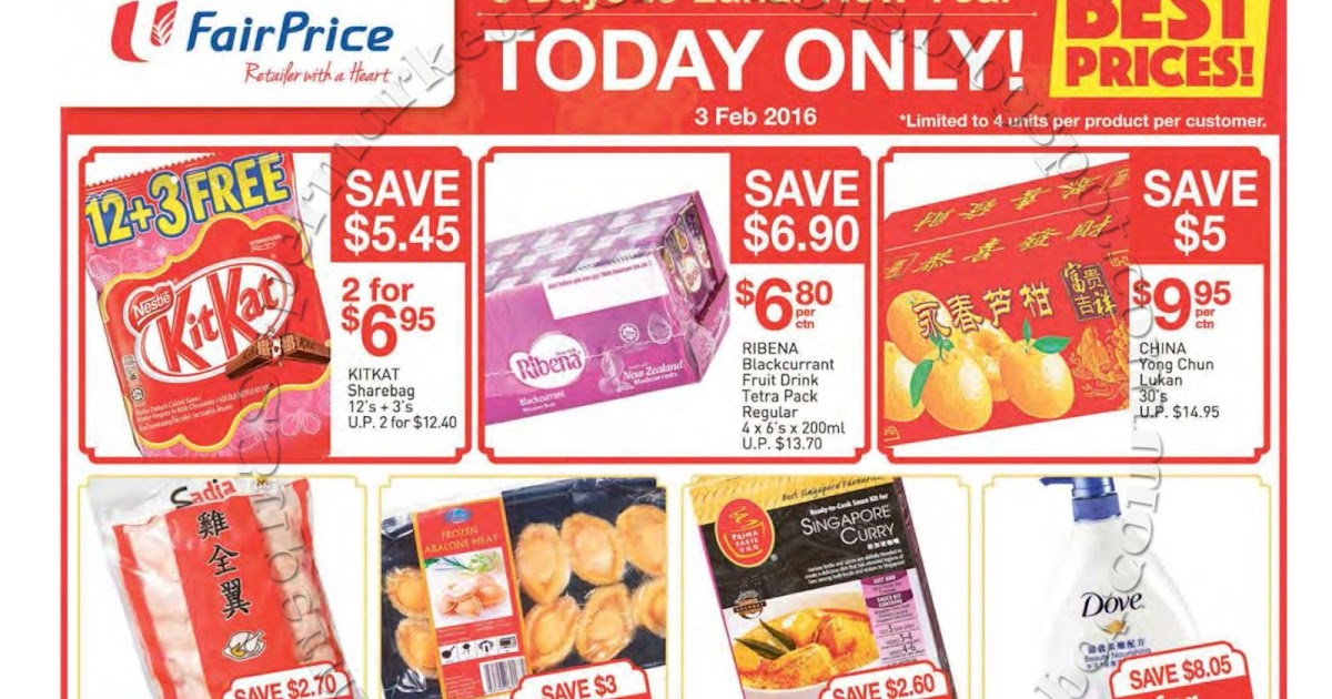 NTUC FairPrice CNY Today Only Promotion 03 February 2016 | Supermarket ...